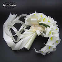 Kyunovia teardrop cascading bouquet Artificial Flowers White Calla Lily Long Flower Bouquet Wedding Bouquet bridal bouquets D73