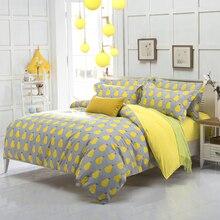 Neue ankunft qualität polyester birne apple gelb königin twin voll bettwäsche bettlaken set bettwäsche bettbezug set bettwäsche set