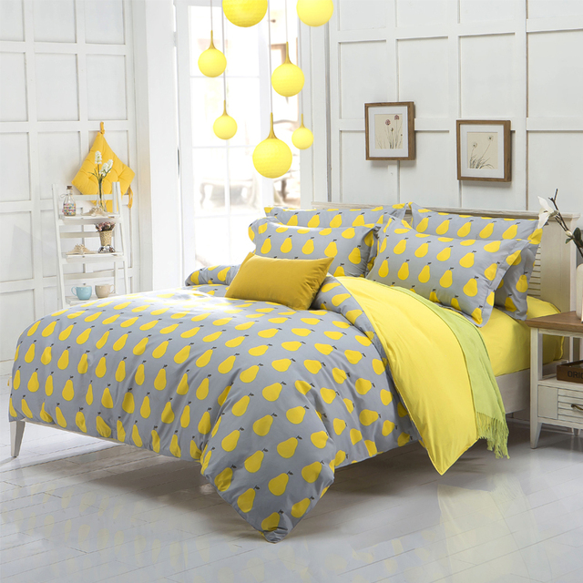 New Arrival Quality Polyester Pear Yellow Queen Twin Full Bedding Bed Sheet Set Bedclothes Duvet Cover