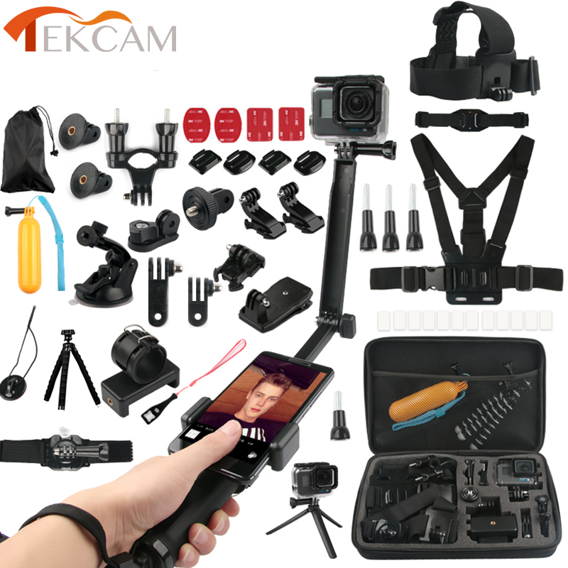 Tekcam Accessories Kits 3 way selfie grip arm for Go pro hero 6//5/4 hero session Gopro 6/4 SJCAM SJ6 SJ8 SJ8 Xiaomi yi 2 4k shoot aluminum alloy handheld stabilizer for gopro hero 7 6 5 black xiaomi yi 4k lite sjcam sj7 eken h9 go pro hero 6 accessory