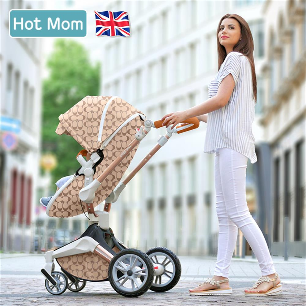 Hot Mom 2 in 1 Baby Stroller 360 degree Rotate baby carriage Luxury High Landscape Baby Pram EU Standard No tax Free shipping 1