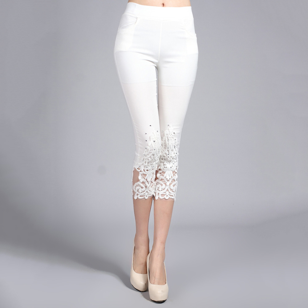 Plus Size 4XL Women Summer Lace   Pants   Crochet Rhinestone Skinny Stretch Cropped Leggings Trousers   Capris     Pants
