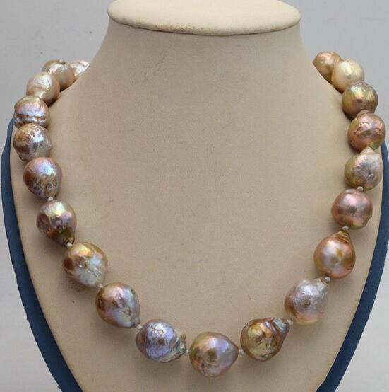 Bijoux 100% véritable naturel naturel 14x17mm Reborn Baroque Edison perle noeud bijoux collier 18