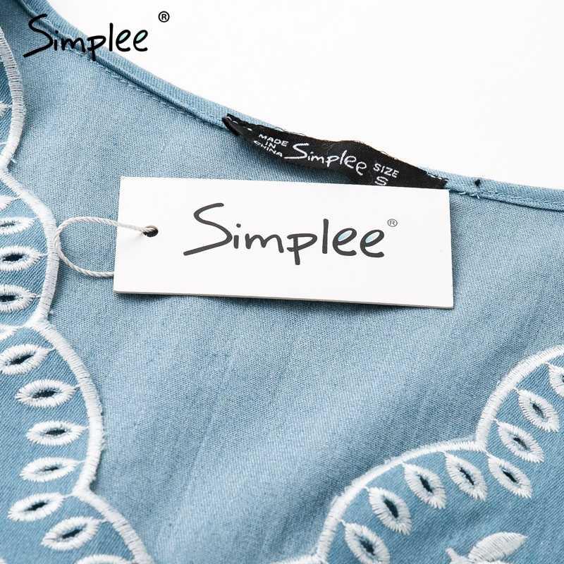 Simplee летнее платье из джинсовой ткани с v-образным вырезом и вышивкой женское элегантное короткое Синее джинсовое платье с поясом повседневное праздничное женское пляжное платье