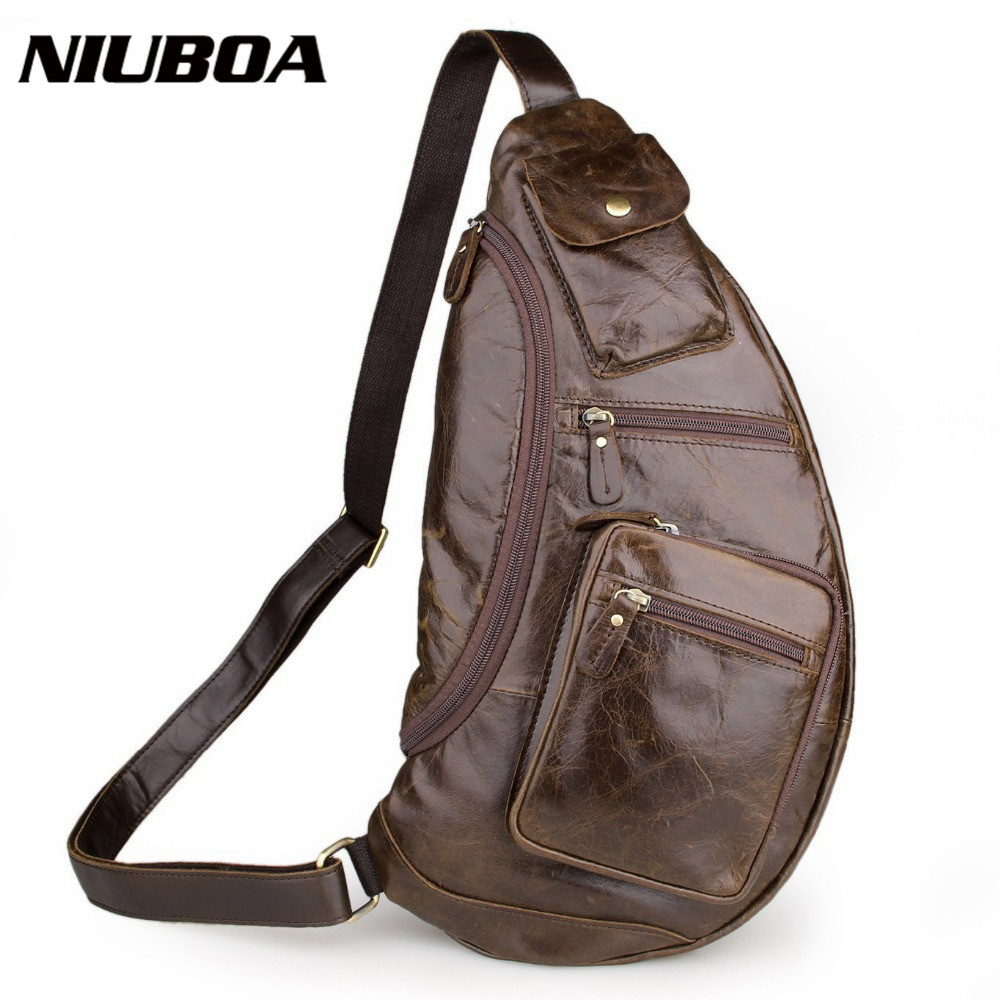 NIUBOA Men's Cowhide Chest Bags Vintage Genuine Leather Travel Riding Motorcycle Shoulder Bags Messenger Sling Chest Bag free shipping wholesale retail sa212 saddle bag motorcycle side helmet riding travel bags rain cover one pair