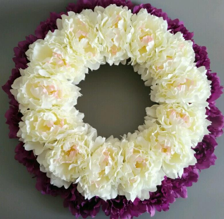 decorative flowers wreath,16 inches white penoy wreaths ,home ...