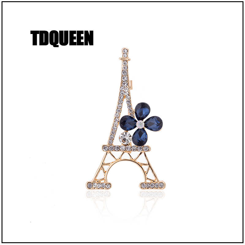 TDQUEEN Paris Eiffel Tower Flower Pins and Brooches For Women Party Dress Suit Collar Gold Color Pin Jewelry Commemorative Gift