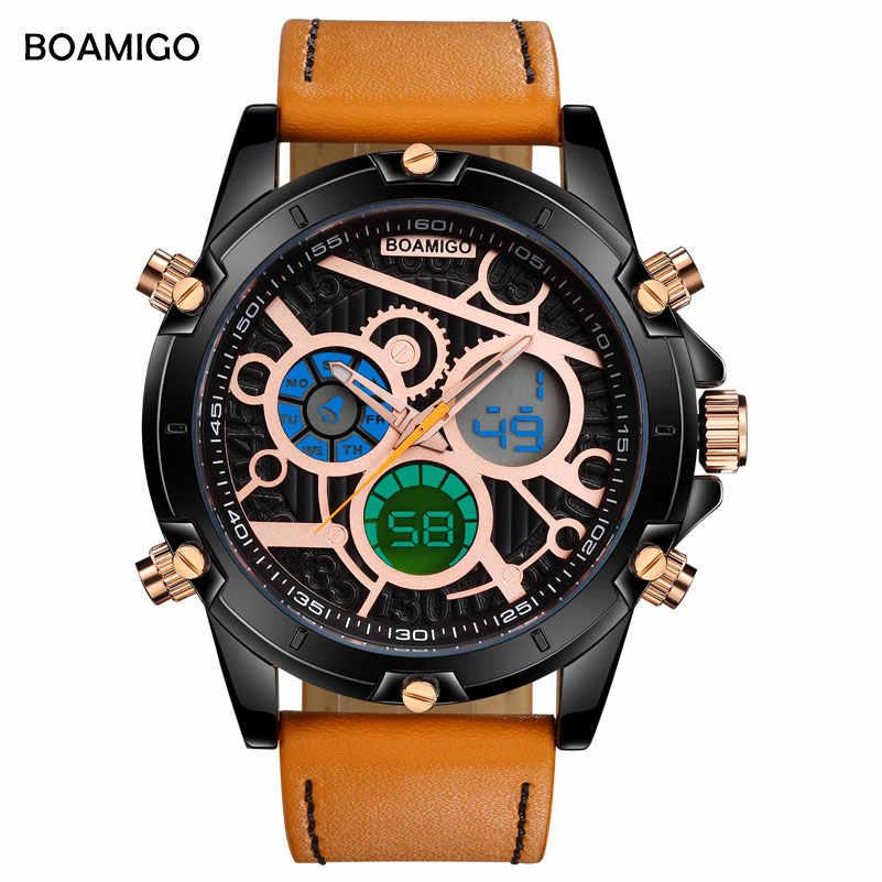 BOAMIGO גברים של שעון באיכות גבוהה אלקטרוני קוורץ שעון אופנה מקרית LED כפול תצוגת הכרונוגרף עמיד למים גברים של שעון