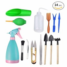14pcs/Set Mini Garden Portable Shovel Tools Rake Spade Plant Tool Set With Wooden Handle Adult Kids Outdoor