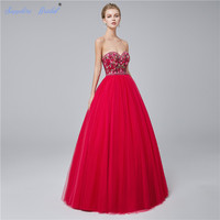 Sapphire Bridal Red Navy Blue Embroidery Ball Gown Floor Length Long Party Gowns Gorgerous Quinceanera Dresses Hot Sale