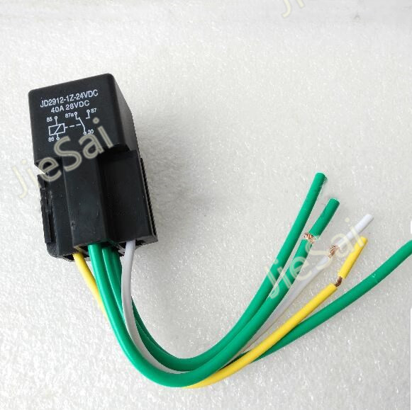 40A Waterproof Relay/ Automotive Relays 24VDC 5 copper pins 1NO 1NC relay+ Five-wire socket