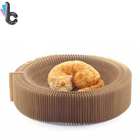 High Quality Foldable Cat Scratch Board Corrugated Paper Accordion Type Cat Bowl Pet Toys