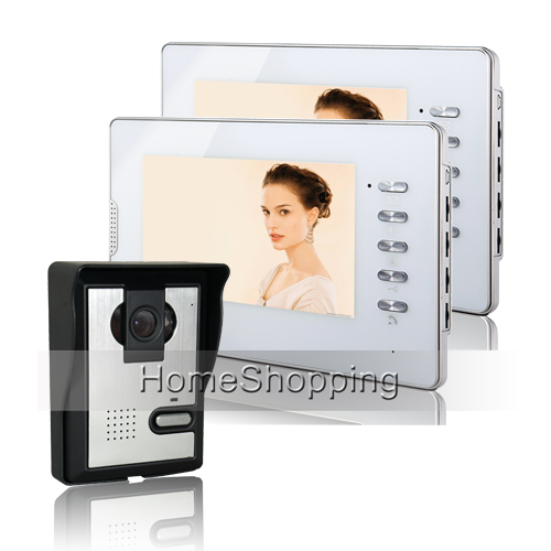 FREE SHIPPING Wired 7 inch HD Color Video Door Phone Intercom System + 2 White Monitor + Night Vision Doorbell Camera Wholesale door intercom video cam doorbell door bell with 4 inch tft color monitor 1200tvl camera