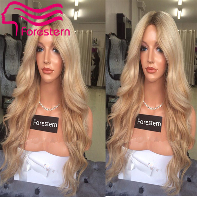 Freeshiping Brazilian Human Hair Ombre Full Lace Wig Blonde Lace Front Wig with Bangs Glueless Body