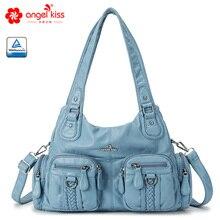 Angelkiss women handbags beautiful blue single shoulder bags with multi zipper pockets large capacity 1512-2
