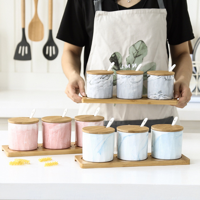 marble kitchen accessories turntable nordic ceramic seasoning pot wooden cover lid salt sugar spice pepper storage