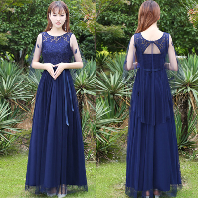 125eefd370 Teenager Summer Lace Fitted Maxi Dress and Graduation Evening Gown Mesh  Lace Cape Navy Blue Formal Dress for College Students