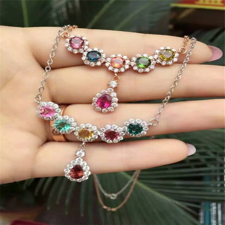 KJJEAXCMY boutique jewels S925 silver natural crystal tourmaline necklace pendant set accessories wholesale chain.KJJEAXCMY boutique jewels S925 silver natural crystal tourmaline necklace pendant set accessories wholesale chain.