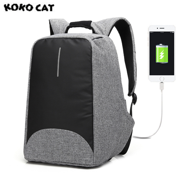 2017 KOKOCAT Oxford Fashion Men Laptop Backpacks 15.6 Inch USB Unisex Design Bags for School Backpack Casual Rucksack 3 Colors
