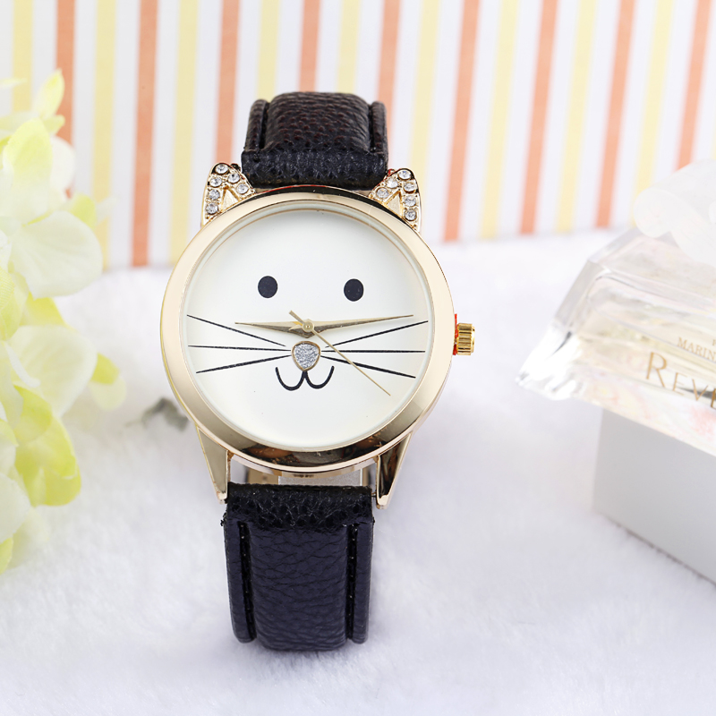 2018 Women's watches Cat Pattern Leather Band Quartz Ladies Watch women watches cat watches
