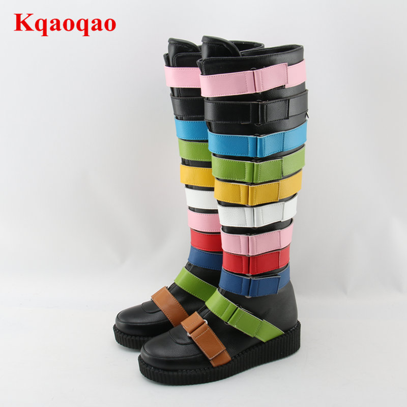 Luxury Brand Super Star Runway Boots Rainbow Color Long Booties Buckle Decor Side Zip Shoes Round Toe Knee High Hot Winter Boots yanicuding round toe women mid calf boots short booties flower butterfly knot design super star lady runway shoes european style