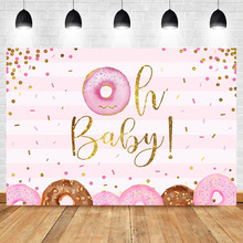 NeoBack Donut Girl Baby Shower Backdrop Pink Party Background Vinyl up Banner Backdrops