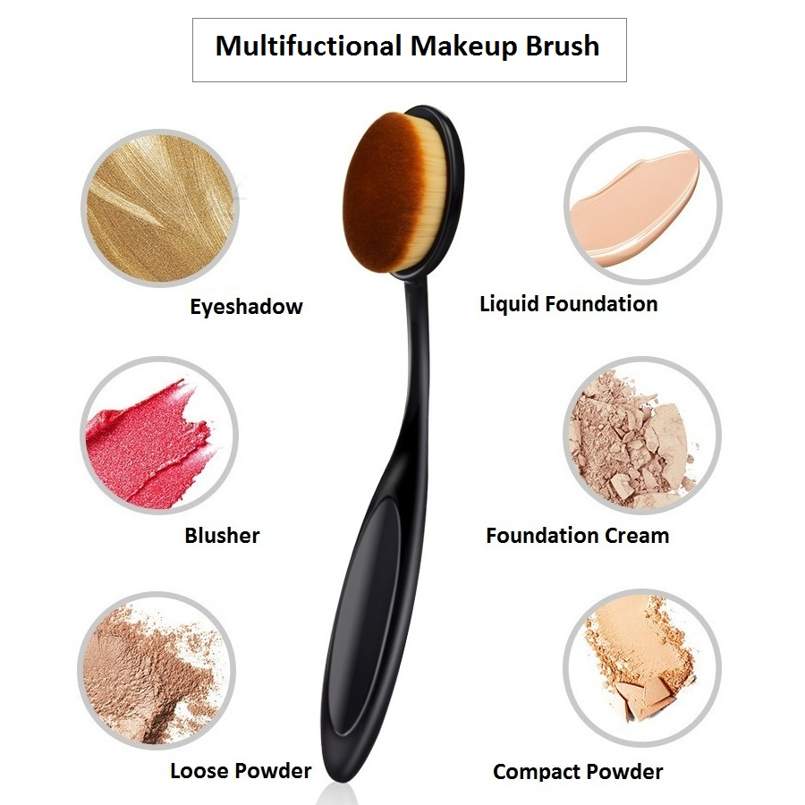 Toothbrush Makeup Brush Soft Small Multifuction Brosse Powder Foundation Blusher Eyeshadow Short Oval Curve Women Cosmetic Tools image