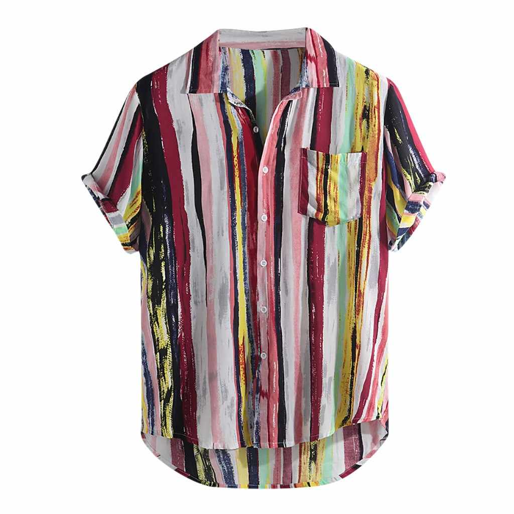 Womail 2019 新着ファッション夏メンズカジュアルマルチカラー塊胸ポケット半袖ラウンド裾ルーズシャツブラウス