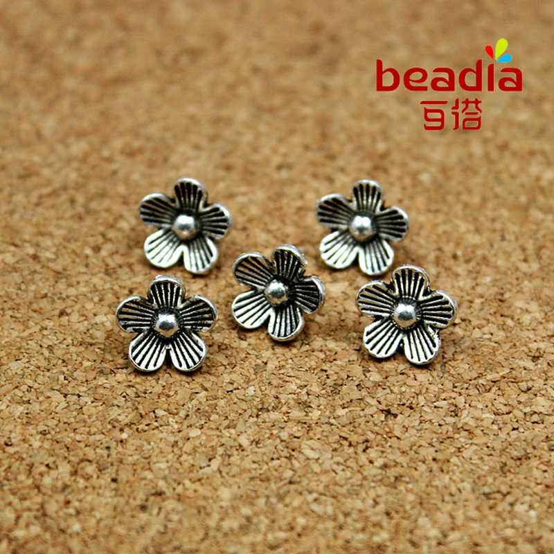 Hot Sale 10pcs/lot 7*10mm Charms Antique Silver Plated Tiny Flower Alloy Charms Pendant Jewelry Findings Fit Necklace Making