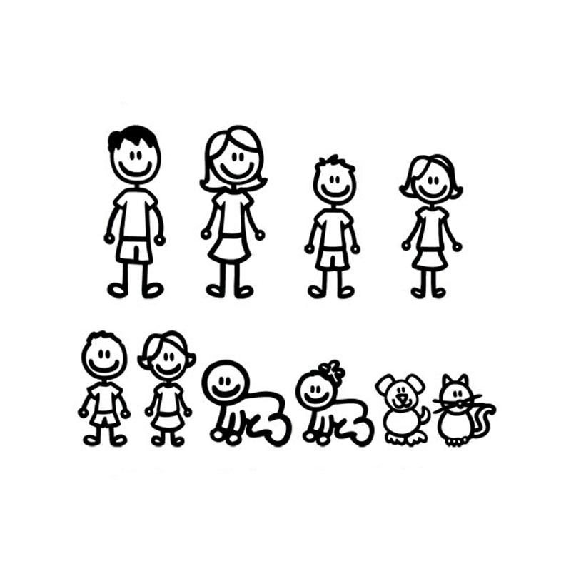 38.3*29,5 см мультфильм большой семейный автомобиль наклейки мода автомобиля наклейку декоративные аксессуары черный/серебристый С7-1179