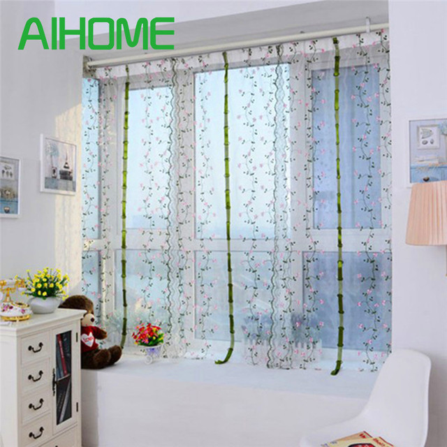 80100cm New Lace Printed Flower Curtains Blind To The Hall Living Room Drapes Decoation