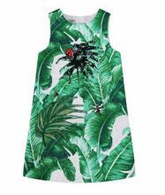Girls Dress 2017 Winter Brand Girls Dresses Princess Costume Green White Tropical Print Kids Dresses for