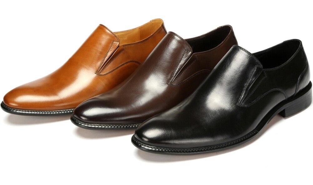Large Size EUR46 Black   Brown   Tan Wedding Shoes Mens Business Shoes  Genuine Leather Dress Shoes Boys Prom Shoes 64bb20d3f7d5