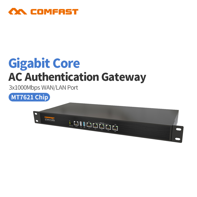 For 500 user Comfast CF-AC200 full Gigabit AC Authentication Gateway Routing MT7621 880Mhz Core 3*1000Mbps WAN/LAN Port Gateway comfast ac200 orange os system full gigabit wifi control ac gateway routing wireless roaming wifi coverage project manager route