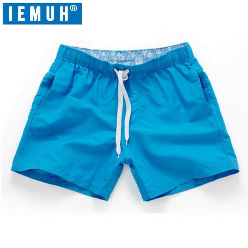 IEMUH Brand Summer Beach Shorts Men Swimming Shorts Leisure Sport Running Jogger Shorts Quick Dry Sea Surf Men's Board Shorts