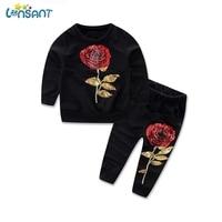 LONSANT Girls Clothes Set 2017 Spring Autumn Kids Clothes Long Sleeve Sequins Rose Floral Sweatshirt Pants