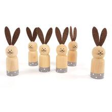Easter rabbit Wooden 6pcs Cylindrical bunny 12cm party favor mini handmade craft decoration for home heme decor