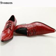 0598a1ce Svonces Cuero auténtico hombres vestido Zapatos cocodrilo rojo impresión  Encaje up hombres de negocios Zapatos italiano masculin.