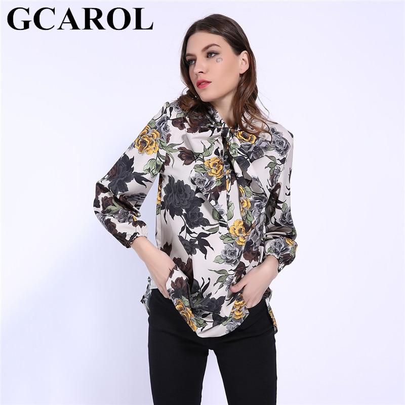 GCAROL 2019 Early Spring Bowknot Women Big Floral Long Blouse Elastic Cuff Fashion Elegant OL Work Shirt Asymmetric Tops 2