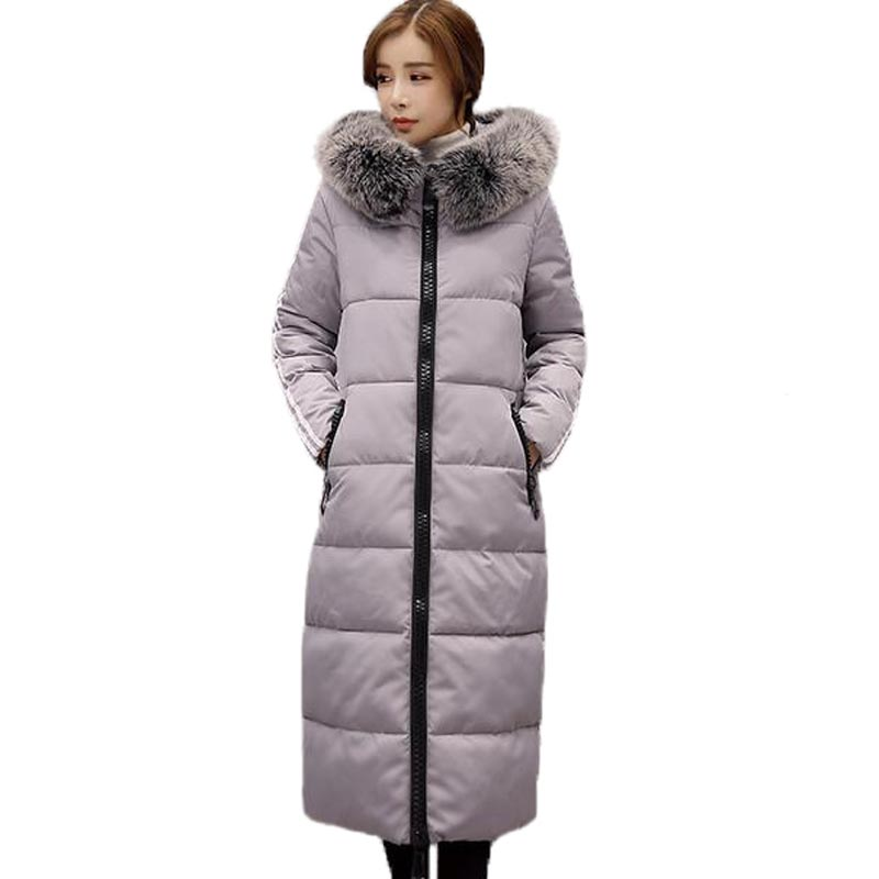 2017 New Winter Cotton Padded Jacket Women X-Long Large Fur Collar Parkas Coat Hooded Thick Warm Female Overcoat PW0728 2017 winter new coat womens long slim hooded large fur collar thick cotton warm jacket for female zipper pattern epaulet padded