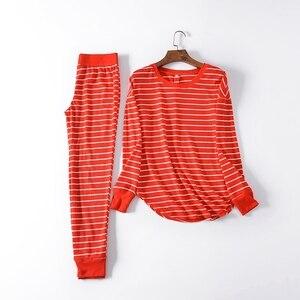 Image 4 - Fdfklak yeni bayanlar loungewear ev giysileri pijama kadın pijama pijama takımı bahar sonbahar uzun kollu pijama Q1542