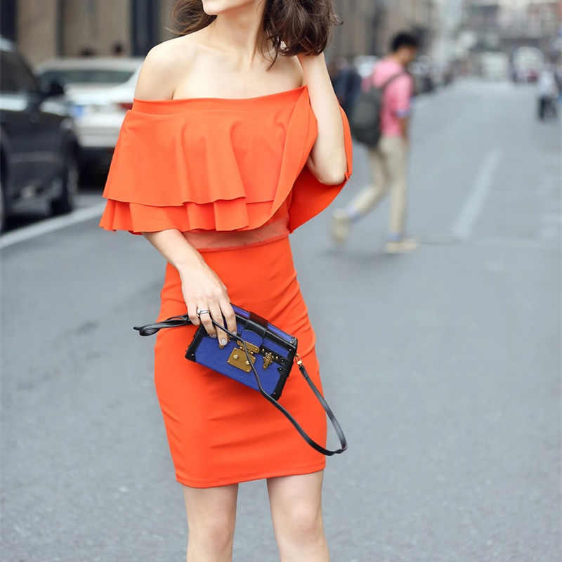 2017 Ruffle Beach Tunic Cover Up Orange White Fitness Body Bathing Suit swimwear women roupa de banho Tube Top Dress Swimwear