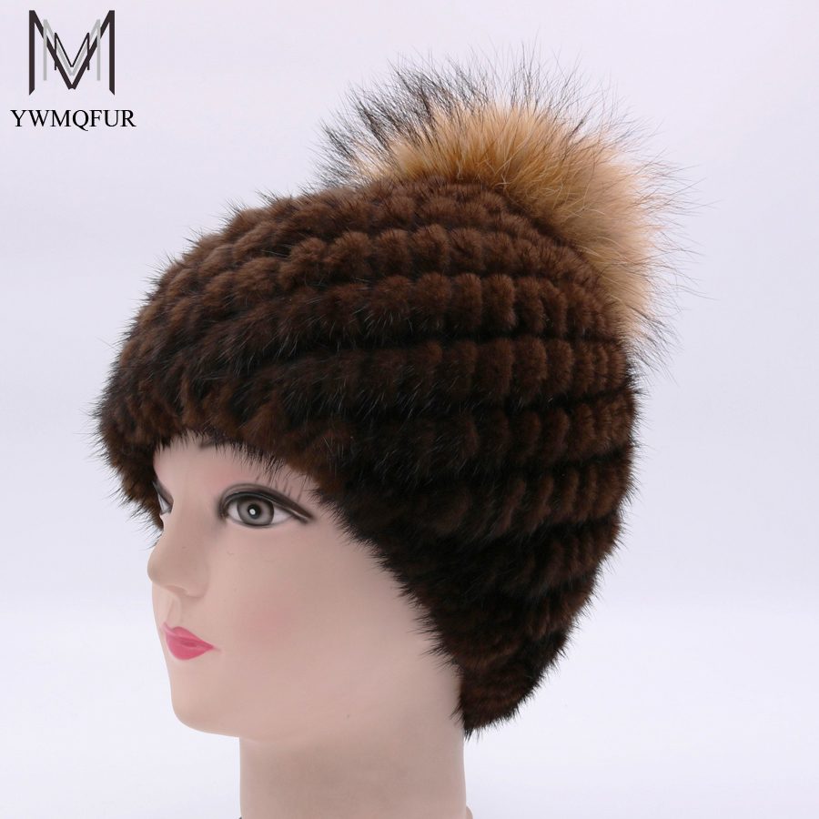 YWMQFUR Genuine Mink Fur Hat Cap Nature Knit Mink Fur Hat With Raccoon Ball Fashion Women Winter Headgear Beanies Pom Poms H96