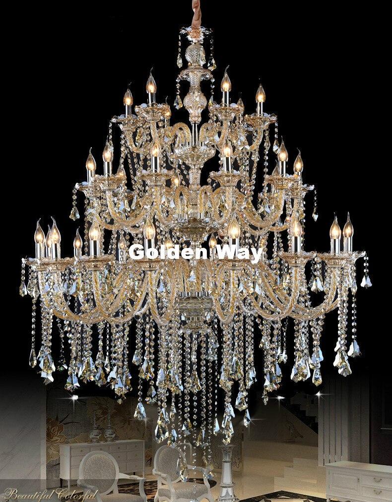 Livraison Gratuite De Luxe Vintage Hôtel Lustre LED AC Lamparas Rétro Cognac Lustre Cristal Lustre Penthouse Cystal Lustre