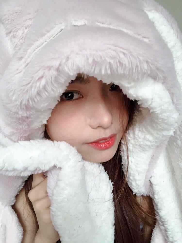 Cute Pink Comfy Blanket Sweatshirt Winter Warm Adults and Children Rabbit Ear Hooded Fleece Blanket Sleepwear Huge Bed Blankets 39