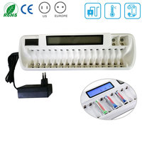Intelligent Standard OEM 18 Slots/8 Bay LCD Universal Battery Charger For AA AAA NIMH/NI CD /9V PP3 Rechargeable Batteries