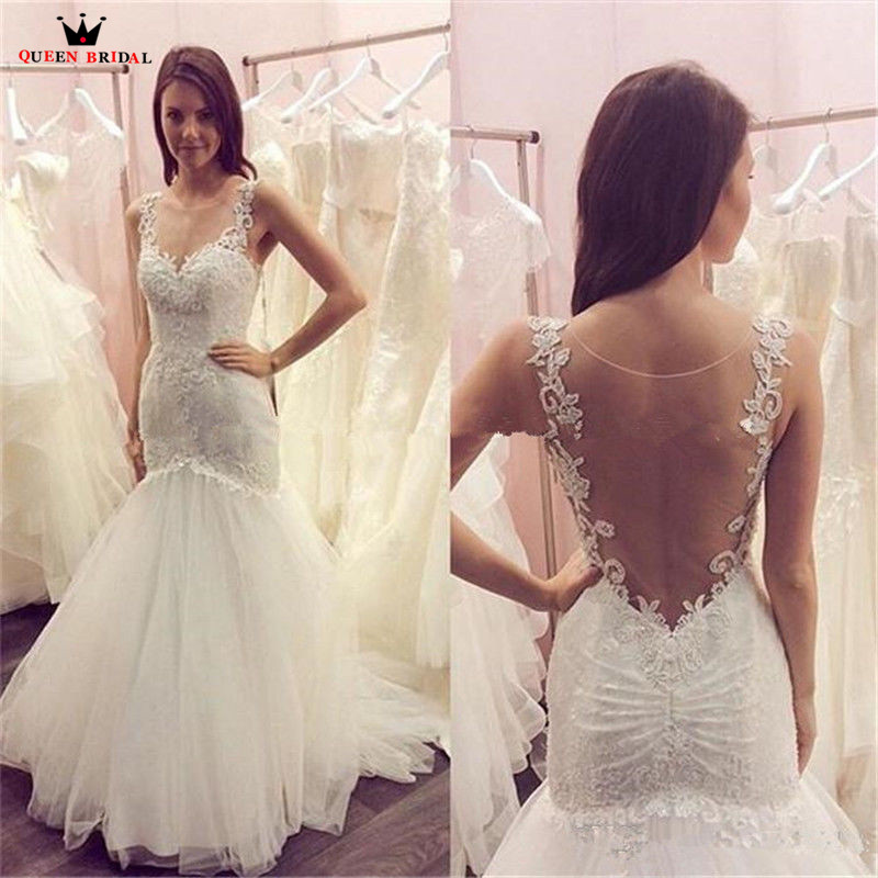 Mermaid Backless Lace Tulle Sexy Long Formal Bride Wedding Dresses 2020 New Fashion Wedding Gowns Custom Made YB35