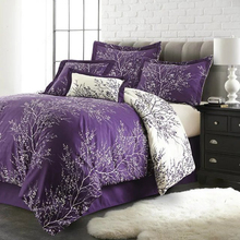 Wongs Rama de Árbol funda de Edredón de Cama Juegos de Cama Púrpura Juego de Cama 2 Fundas de Almohada Doble Reina Rey Tamaño 3 UNIDS Nuevo ropa de cama