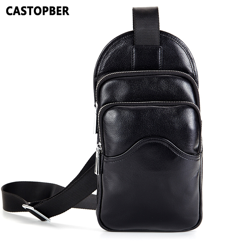 New Men Messenger Bags Famous Brand Fashion Genuine Leather Chest Bag Man Crossbody European And American Style Business Handbag