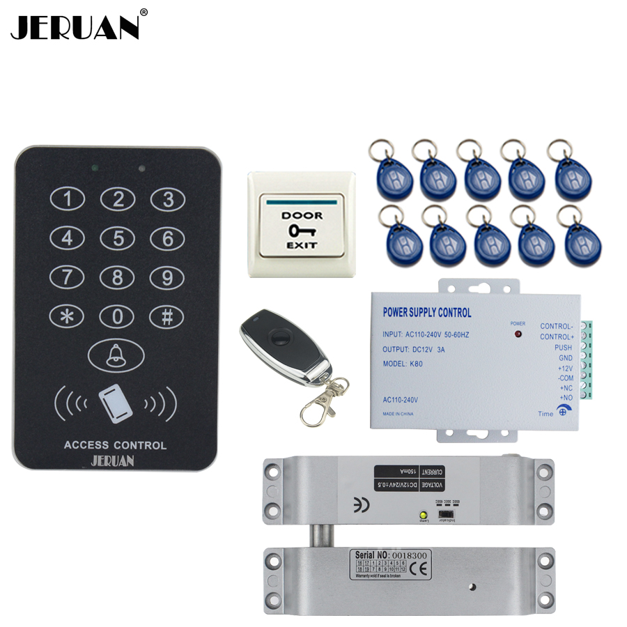 JERUAN RFID Access Controller Door control system kit +Remote control + Exit Button +10 ID Keys +Power +Drop Bolt lock In stock rfid door access control system kit set with electric lock power supply doorbell door exit button 10 keys id card reader keypad